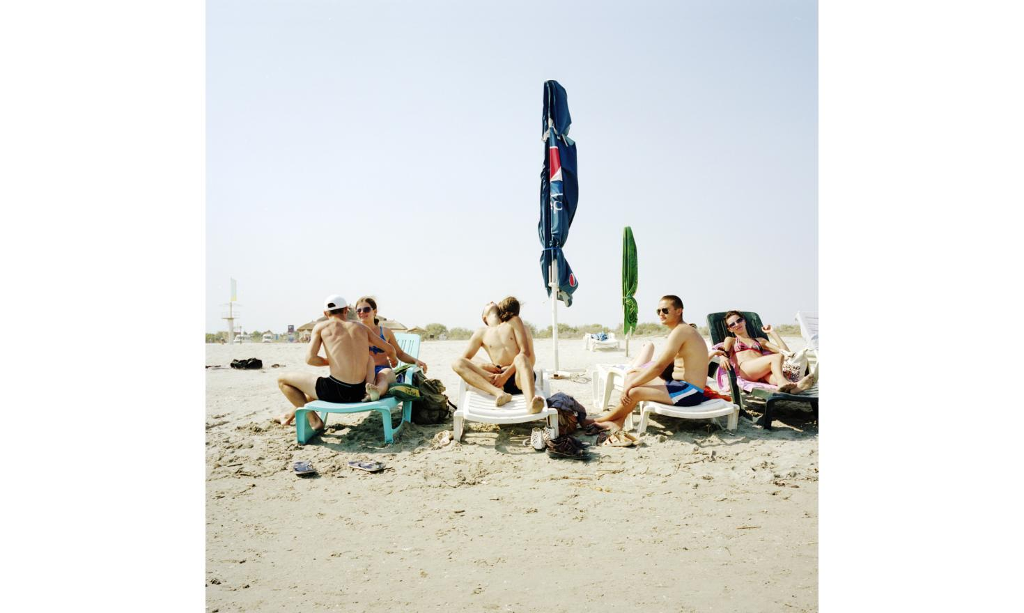 Sulina beach. It is the principal attraction of the city with the delta. Young Moldavians in vacation.