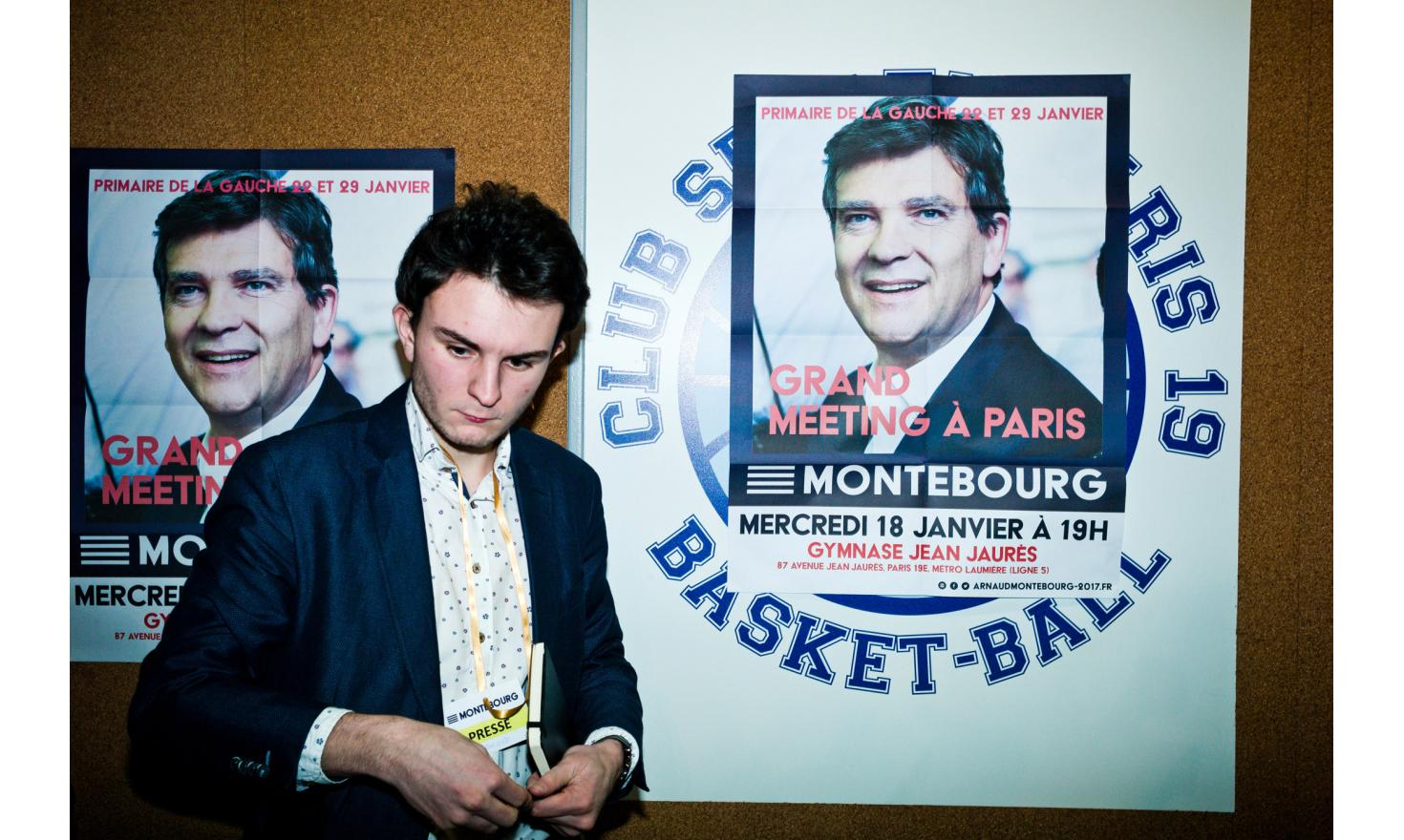 Meeting of Arnaud Montebourg at the Gymnase Jean-Jaurès in Paris