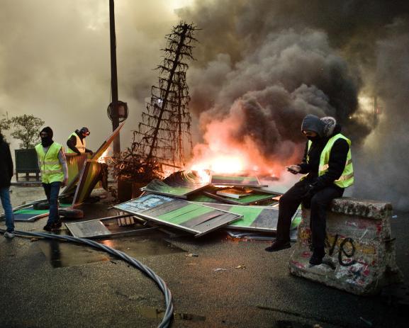 Yellow Vests Demonstration in Paris on December 1st. Boulevard des Capucines.